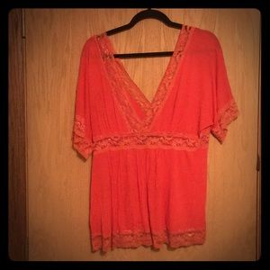 Cute Charlotte Russe 3/4 Sleeve Coral Lace Blouse